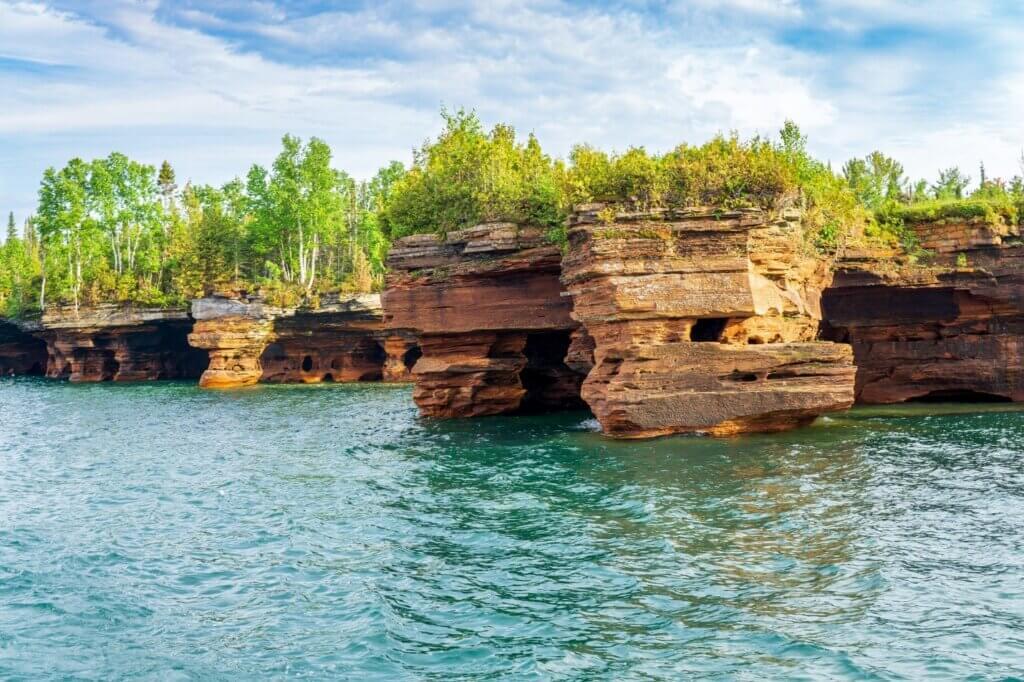 Magnificent sandstone cliffs of Apostle Islands National Lakeshore