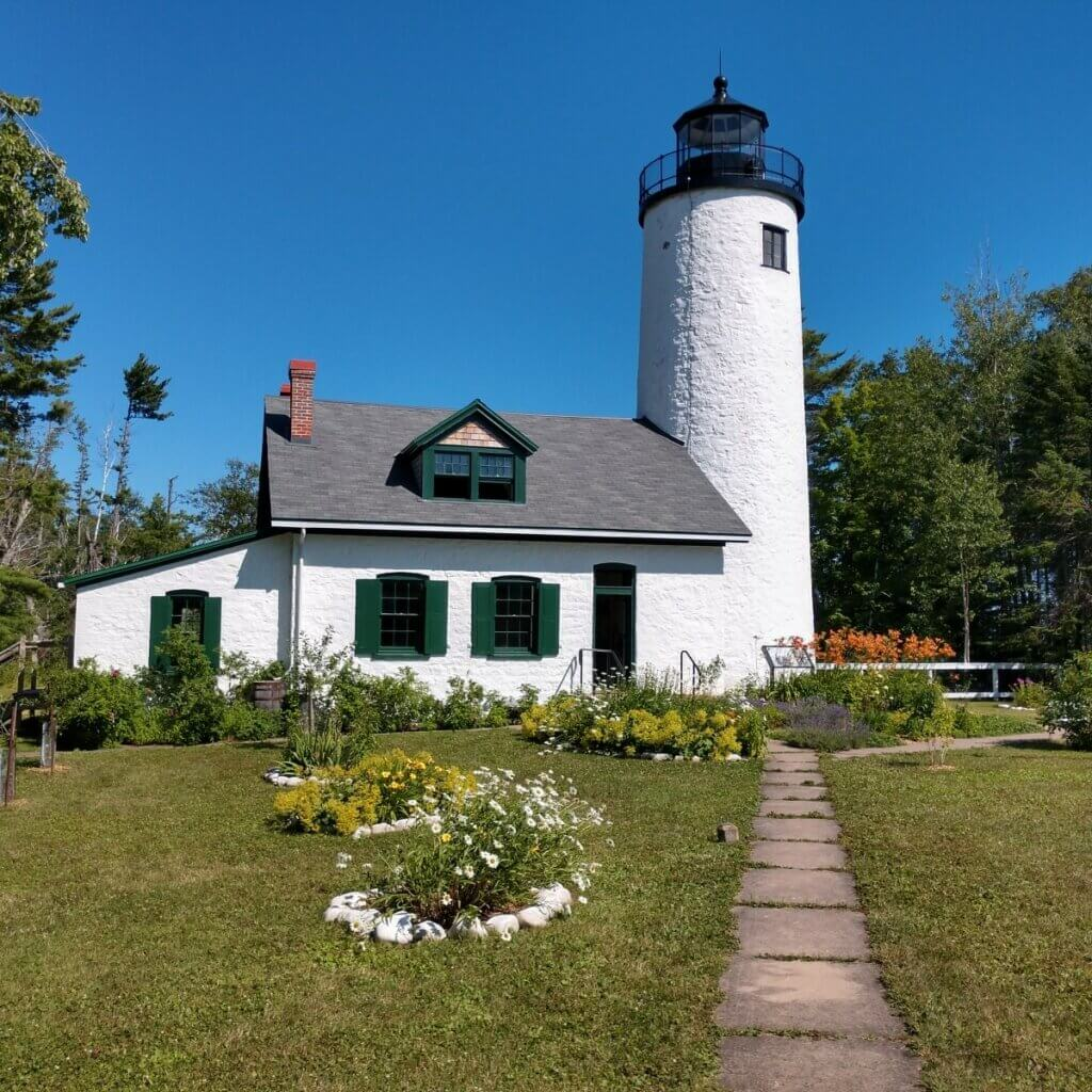 old Michigan island lighthouse of the apostle islands